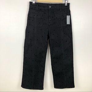 Anthro Pilcro High Rise Crop Swiss Dot Jeans NWT